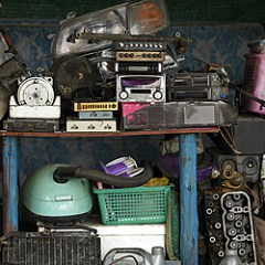 pile of old and broken electronics